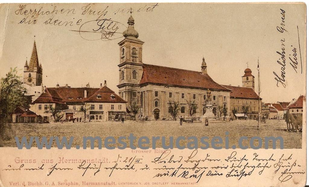 Actuala cladire a Primariei din Sibiu nu era construita la data fotografierii pentru cartea postala